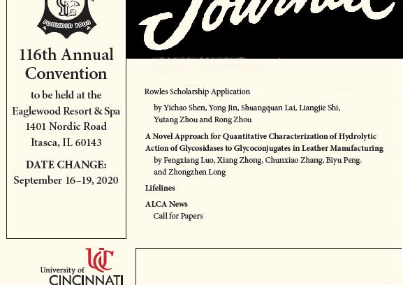 Rivista scientifica JALCA edizione ottobre 2020